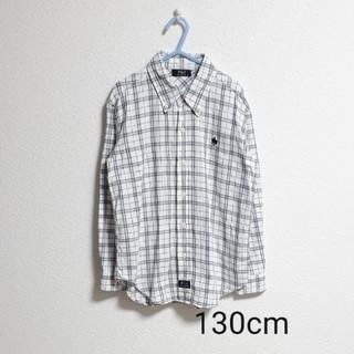 シマムラ(しまむら)の【しまむら】POLO フランネルチェックシャツ 白 130cm(ブラウス)