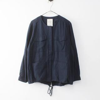 スタディオクリップ(STUDIO CLIP)のスタディオクリップ リネン混ノーカラージャケット紺(ノーカラージャケット)