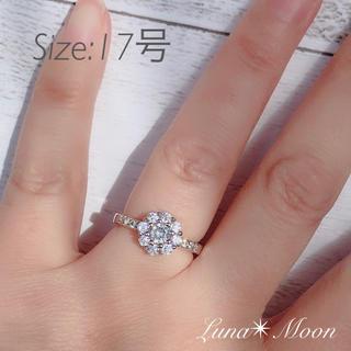 最高級AAA使用 お花モチーフCZダイヤリング(17号)★サイドパヴェ仕様(リング(指輪))