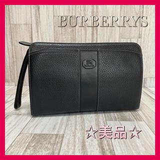 BURBERRY - ☆美品☆ バーバリー クラッチバッグ セカンドバッグ チェック ブラック レザー