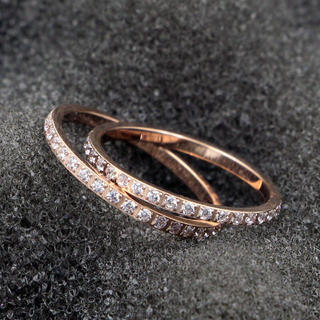 CZダイヤモンド 幅1mm極細フルエタニティリング (リング(指輪))