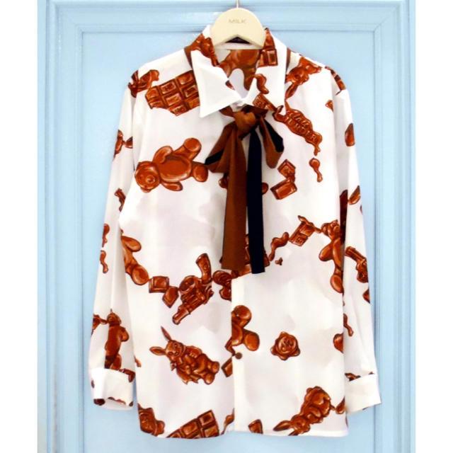 MILKBOY(ミルクボーイ)のMilkboy ミルクボーイ チョコレートシャツ タイ リボン シャツ メンズのトップス(シャツ)の商品写真