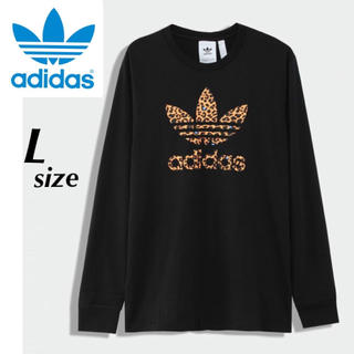 adidas - 【定価5489円】adidas ヒョウ柄 ロゴ ロンT 長袖Tシャツ 黒 L