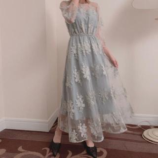 Leja レースギャザードレス