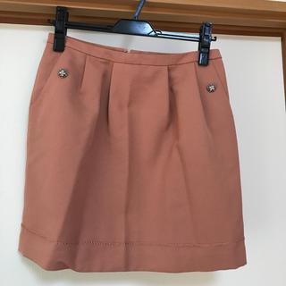クイーンズコート(QUEENS COURT)のクイーンズコート ピンクスカート ビジュー付き(ミニスカート)