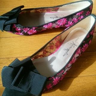 DIANA - 美品 ピンク 花柄 刺繍 フラットシューズ