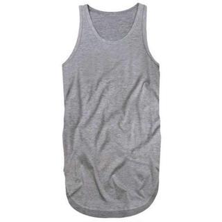 人気☆ ロングタンクトップ メンズ 三代目 TAKA メタリカT 裾丸 3L 灰(Tシャツ/カットソー(半袖/袖なし))
