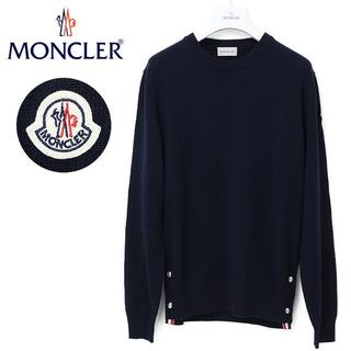 MONCLER - 16 MONCLER ネイビー サイドボタン クルーネック ニット XL