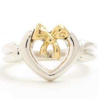 Tiffany & Co. - ティファニー ハート ウィズ ボウ リング スターリングシルバー ゴールド