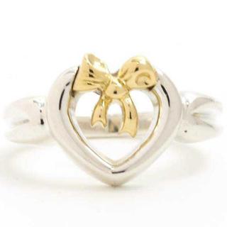 ティファニー(Tiffany & Co.)のティファニー ハート ウィズ ボウ リング スターリングシルバー ゴールド(リング(指輪))