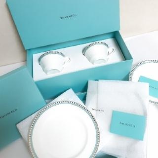 Tiffany & Co. - ティファニー プラチナブルーバンド カップ&ソーサー デザートプレート