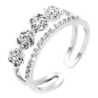 スワロフスキー(SWAROVSKI)の指輪 レディース 最高級 スワロフスキーダイヤモンドCZ 薔薇花(リング(指輪))