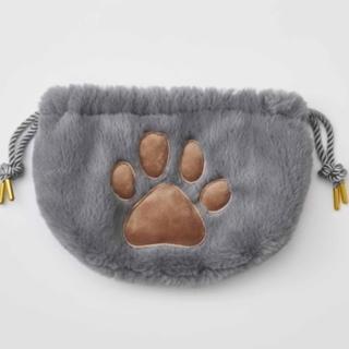 FELISSIMO - 猫の肉球付きクリームパンポーチ グレー