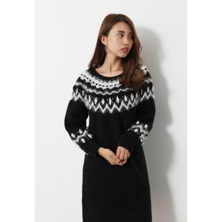 rienda - rienda nordic pattern knit ワンピース