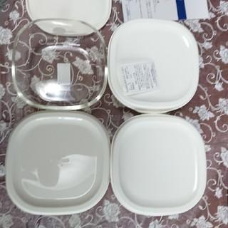 HARIO - ハリオ耐熱ガラス保存容器 白Mサイズ4セット