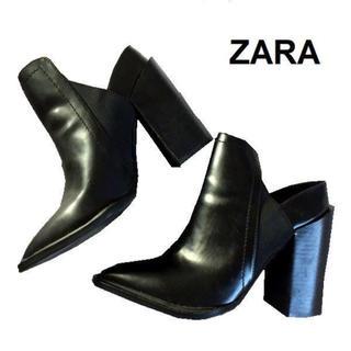 ZARA - 美品 ZARA バックオープン サイドゴアブーツ サイズ36 黒