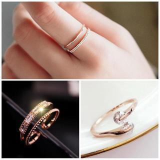 プレゼント(present)の【箱付き】ピンクゴールド リング 3種類セット レディース 指輪 ゆびわ 新品(リング(指輪))