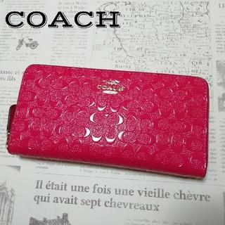 COACH - コーチ 新品 財布 シグネチャー 型押し ピンク