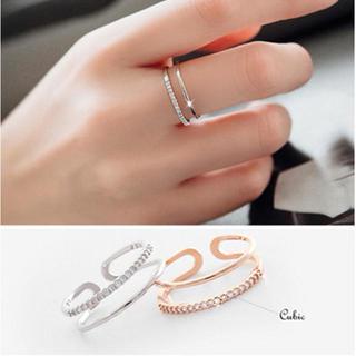 【ラッピング袋付】 プチプラ アクセサリー ダブルライン リング 指輪 新品(リング(指輪))