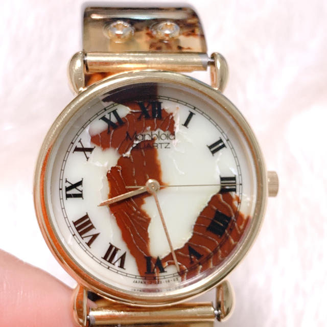 【Marbloid】DAIGEL CRAFTマーブルカラー腕時計 稼働品 美品 レディースのファッション小物(腕時計)の商品写真