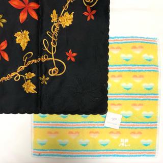 クレージュ(Courreges)の未使用セリーヌ刺繍大判ハンカチ クレージュハンドタオルハンカチ2枚(ハンカチ)