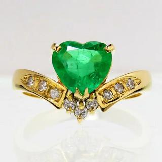 ハート エメラルド ダイヤモンド リング・指輪 K18 ダイヤ(リング(指輪))