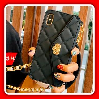 iPhone - iPhone ケース ハンドバッグ型 ゴールドパールチェーン ブラック