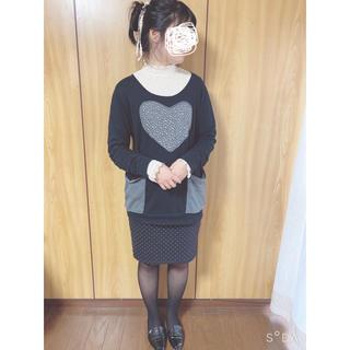Old Navy - オールドネイビー 黒×ベージュドットひざ丈スカート