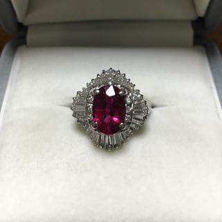 ダイヤモンド×ルベライトリング Pt950 1.59ct 0.93ct 8.7g(リング(指輪))