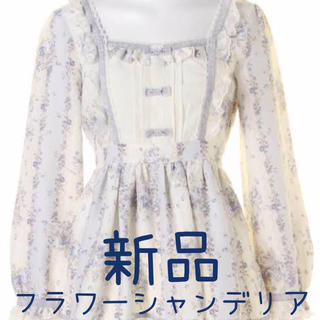 新品♡セットアップ♡フラワーシャンデリア♡ローズ♡リボン♡ブルー♡ミニワンピのみ