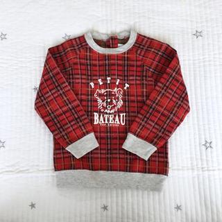 PETIT BATEAU - プチバトー  タータンチェック  長袖  プルオーバー  36m