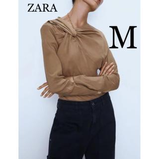 ZARA - 【新品・未使用】ノット付き リネン トップス  M