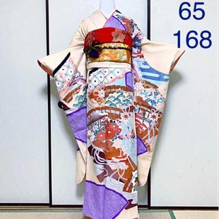 《絞り•金彩•友禅》超キュート!檜扇模様の古典柄振袖セット(振袖)