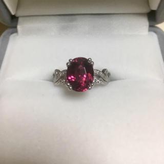 ダイヤモンド×ピンクトルマリン リング Pt900 2.33ct 0.209ct(リング(指輪))