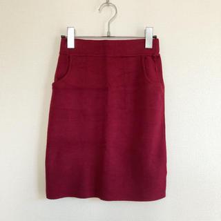アナップ(ANAP)の美品 Sandia anap ニットタイトスカート 膝上 ボルドー ワインレッド(ひざ丈スカート)