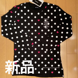 ディーゼル(DIESEL)のハート欠け 水玉 黒 ロンティ 8歳 新品 未使用品(Tシャツ/カットソー)