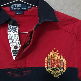 ポロラルフローレン(POLO RALPH LAUREN)の大刺繍ラガーシャツ ポロシャツ ロンT ボーダー 赤 ラグビー ゴルフ 長袖(ポロシャツ)