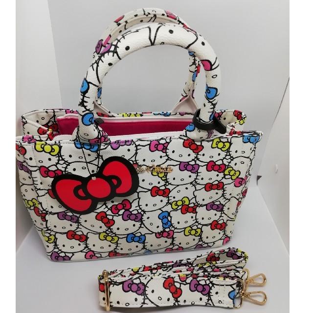 サンリオ(サンリオ)のホワイト ハローキティちゃん ハンドバッグ 肩紐付 レディースのバッグ(ハンドバッグ)の商品写真