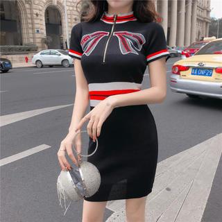 eimy istoire - リボンデザインタイトワンピース(ブラック)ドレス