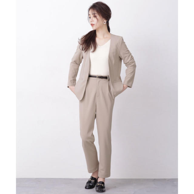 nano・universe(ナノユニバース)のnano・universe カットジョーゼット ジャケット+パンツ セットアップ レディースのフォーマル/ドレス(スーツ)の商品写真