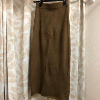ユニクロ / リブニットスカート ブラウン(ひざ丈スカート)