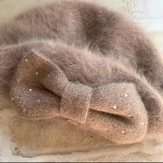 フルラ(Furla)の美品♡FURLAアンゴラベレー帽 スワロ(ハンチング/ベレー帽)
