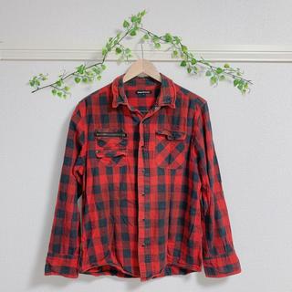 セマンティックデザイン 赤チェック チェックシャツ ネルシャツ デニムシャツ