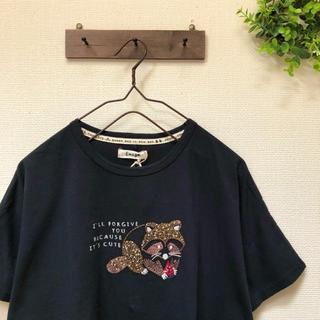 新品 あらいぐま刺繍 ドルマンTシャツ(Tシャツ(半袖/袖なし))