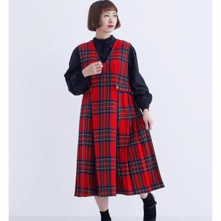 merlot - タータンチェック ウール混 ジャンパースカート ワンピース