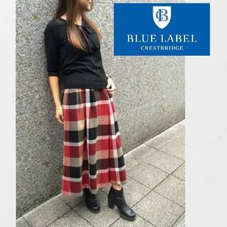 バーバリーブルーレーベル(BURBERRY BLUE LABEL)のブルーレーベルクレストブリッジ CBチェック ウールビエラ スカーチョ 38(クロップドパンツ)