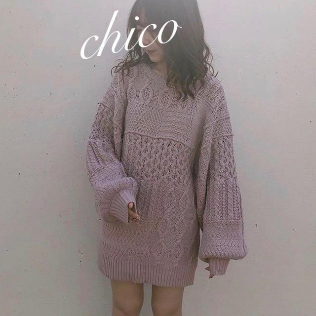 who's who Chico(フーズフーチコ)の新品❁フーズフーチコ パッチワーク風ケーブルチュニック レディースのトップス(ニット/セーター)の商品写真