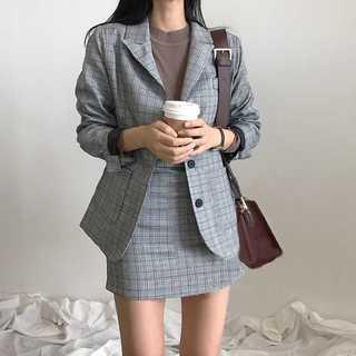 ♡全2色♡ グレンチェック セットアップ ブレザー スカート スーツ オフィス(スーツ)