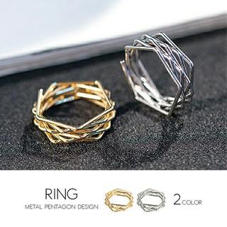 レディース シルバー ゴール デザイン リング 指輪 17号(リング(指輪))