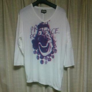 ピーピーエフエム(PPFM)のPPFM ピエロ プリント 七分袖Tシャツ Lサイズ 白 ピーピーエフエム 中古(Tシャツ/カットソー(半袖/袖なし))